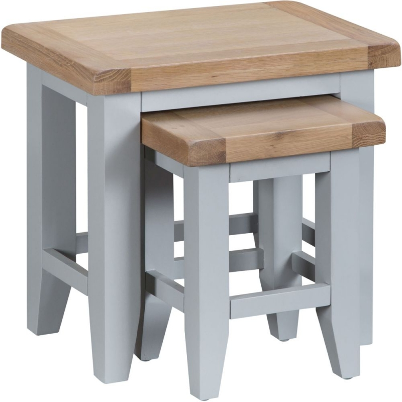 Hampstead Oak and Grey Painted Nest of 2 Tables