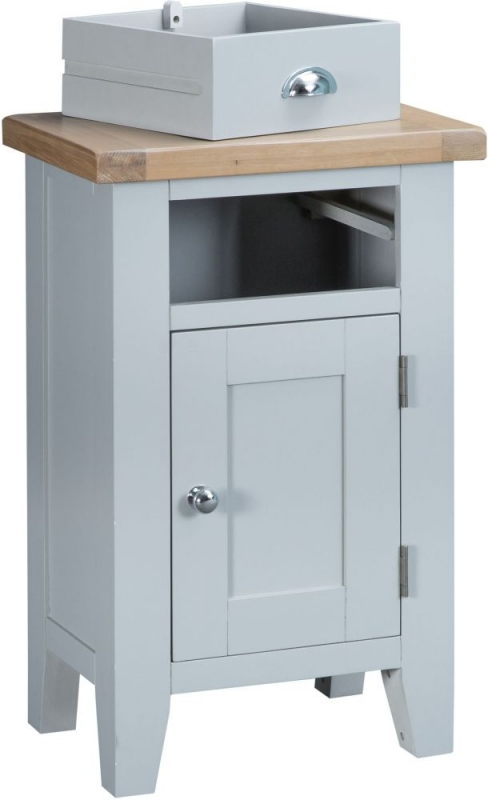 Hampstead Oak and Grey Painted 1 Door 1 Drawer Cupboard