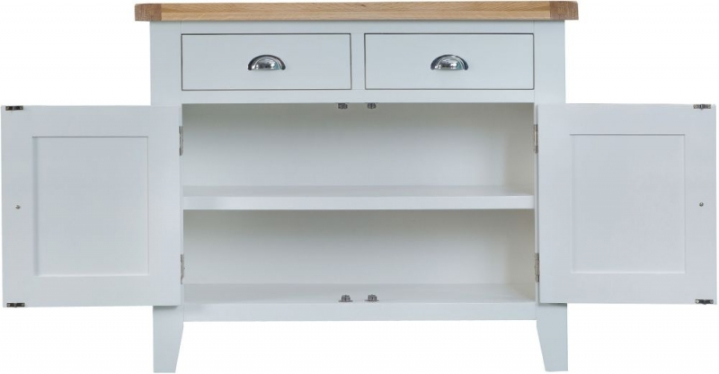 Hampstead Oak and Grey Painted 2 Door 2 Drawer Small Sideboard