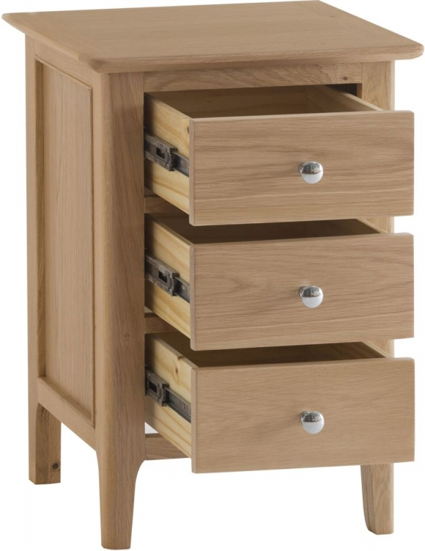 Appleby Oak 3 Drawer Bedside Cabinet