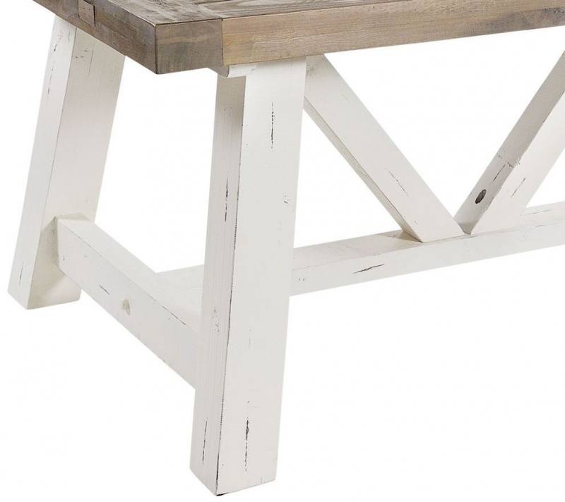 Rowico Purbeck Distressed White Large Dining Table