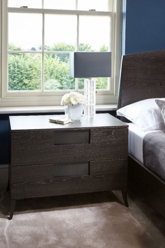 Fitzroy Charcoal 2 Drawer Wide Bedside Cabinet