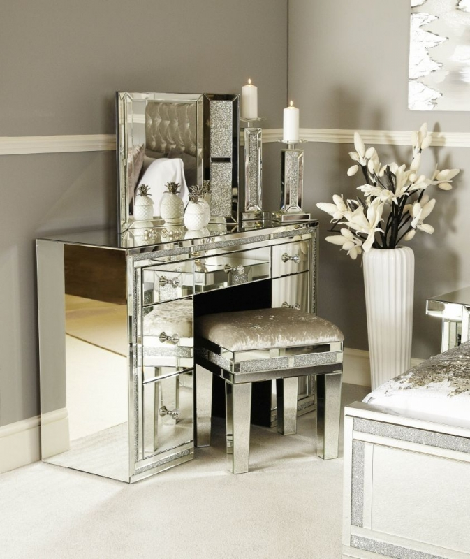 Naro Mirrored Double Pedestal Dressing Table