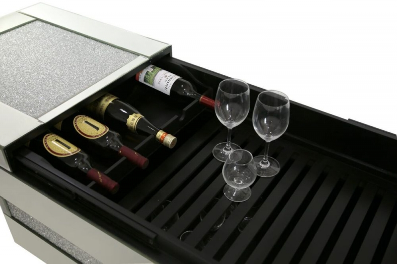 Buy Naro Mirrored Coffee Table With Wine Bottle Holder Inside Online
