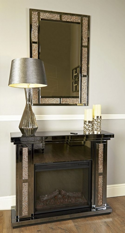 Naro Fire Surround with Electric Fire - Smoked Mirrored and Copper