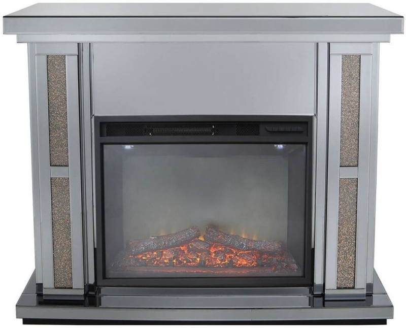 Naro Smoked Copper Mirrored Fire Surround with Electric Fire