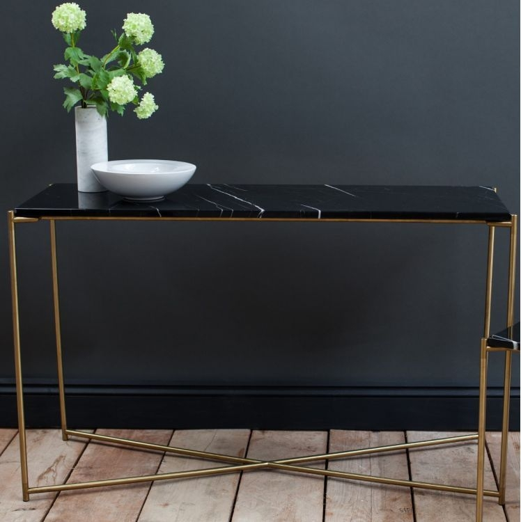 Stockwell Black Marble Top With Brass Frame Console Table - Large