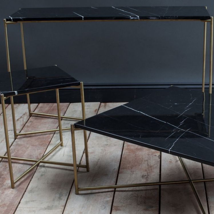 Stockwell Black Marble Top With Brass Frame Console Table - Small