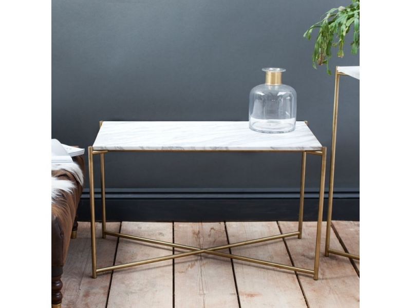 Stockwell White Marble Top With Brass Frame Console Table - Small