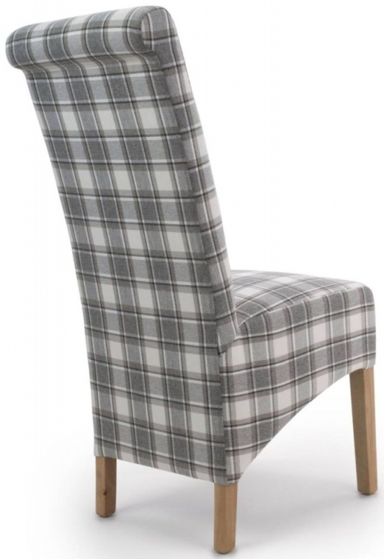 Shankar Krista Cappuccino Herringbone Check Roll Back Fabric Accent Dining Chair (Pair)