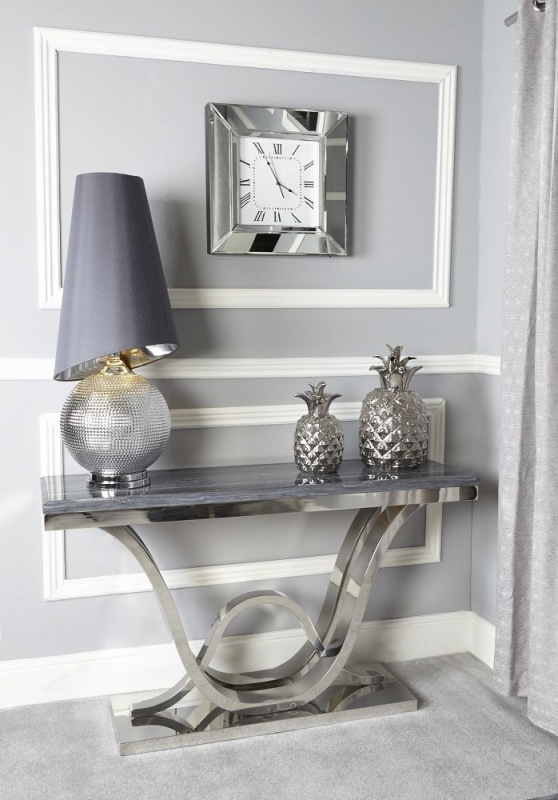 Favara Console Table - Marble and Chrome